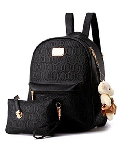 Diseñado Moda Mujer Mochila Mochila escolar de cuero estilo casual mochilas + pequeñas bolsas Negro
