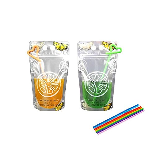 Beverage Pouch - 100pcs Hand-held Translucent Reclosable Zipper Stand-up Plastic Drink Pouches Bags 2.4 inch Bottom Gusset with 100 Straws