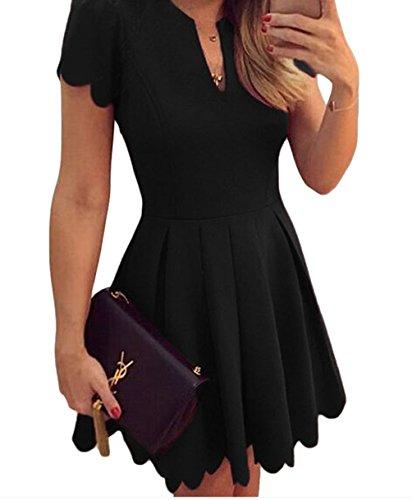 YFFaye Women's Black Sweet Scallop Pleated Skater Dress