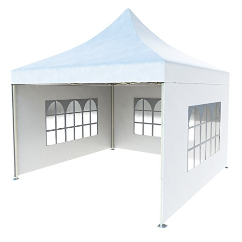 CRINEX 10Ft X 10Ft White Pop Up Portable Shade Instant Folding Outdoor Gazebo Canopy Tent With 3 Removable Side Walls For Sale