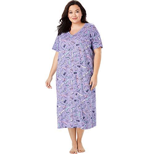 Dreams & Co. Women's Plus Size Long Print Sleepshirt - Lilac Bubble Bath, 1X/2X