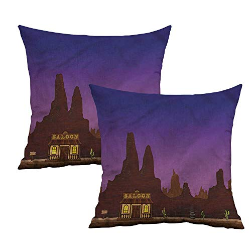 (Khaki home Western Square Body Pillowcase Canyon Desert Night Saloon Square Travel Pillowcase Cushion Cases Pillowcases for Sofa Bedroom Car W 16