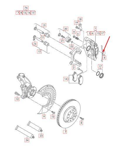 A3 S3 8P 8P0615269 Muelle retenedor de pinza de freno delantero