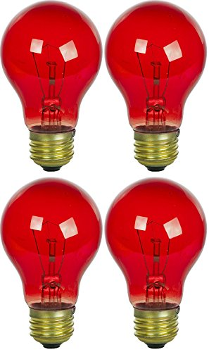4 Pack 25 Watt A19 Colored Transparent Red Incandescent Medium Base Party Light Bulb (Base Red Incandescent Light Bulb)