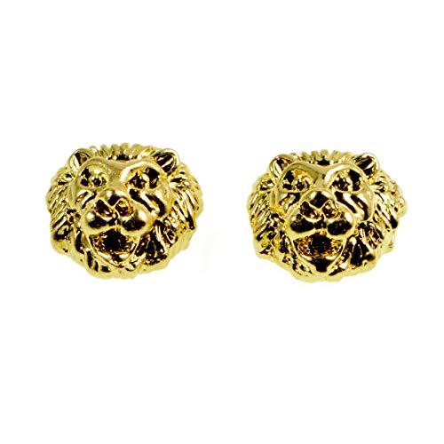 Beads Lion - 10pcs Solid Metal Lion, Sparta, Dragon, Wolf Bracelet Necklace Connector Charm Beads Silver Gold (12x12mm Lion Head, Gold)