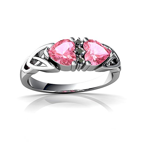 14kt White Gold Lab Pink Sapphire and Diamond 5mm Heart Celtic Trinity Knot Ring - Size 7 (Knot 14kt Ring Diamond Trinity)