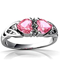 14kt Gold Lab Pink Sapphire and Diamond 5mm Heart Celtic Trinity Knot Ring