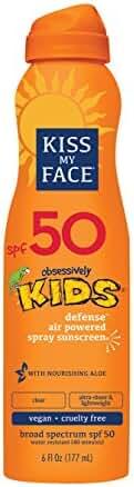 Kiss My Face Kids Defense Continuous Spray Sunscreen SPF 50 Sunblock, 6 oz