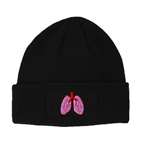 Lungs Embroidery Design Double Layer Acrylic Patch Beanie Black
