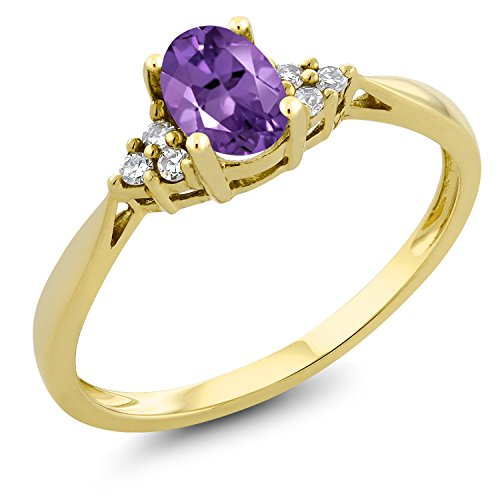 0.35 Ct Oval Purple Amethyst and Diamond 14K Yellow Gold Ring (Size 5) -