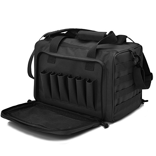 Tactical Gun Shooting Range Bag, Deluxe Pistol Range Duffle Bags Black ()