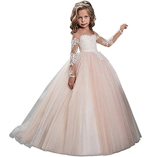 Kalos Dress Shop Lace Bodice Tulle Puffy Flower Girl Dress Lace Appliques Girls First Communion Dress Pageant Gowns(FP 8) for $<!--$52.99-->