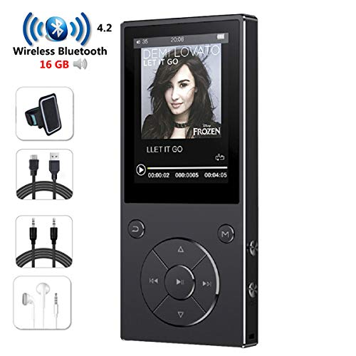 HONGYU 16GB MP3 Player with Bluetooth 2.4 Inch Color Screen,Lossless Metal Bluetooth Music Players with Speaker,FM Radio/Voice Recorder -Black