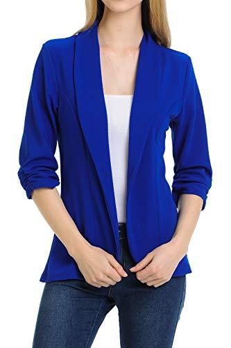 MINEFREE Women's 3/4 Ruched Sleeve Lightweight Work Office Blazer Jacket RoyalBlue 3XL