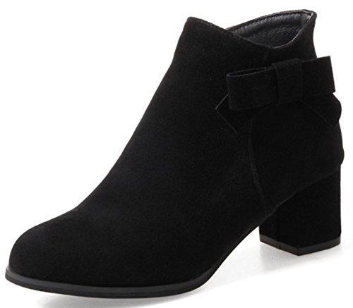 Aisun Damen Süß Schleife Runde Zehen Reißverschluss Knöchelhoher Chelsea Stiefel Mit Blockabsatz Schwarz