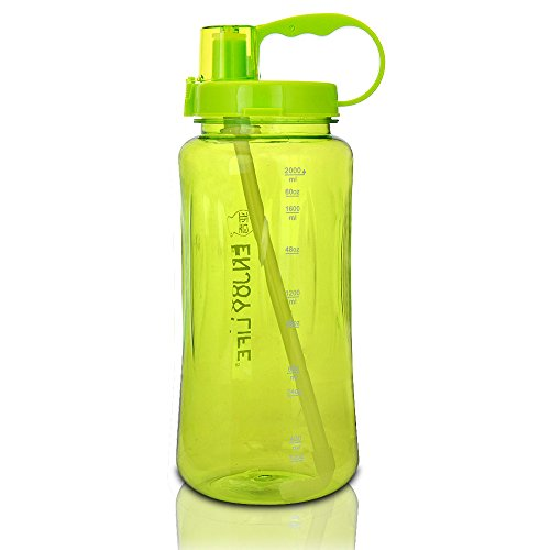 GTI 2L Large Capacity Sports Water Bottle, BPA Free 2 Liter 68 oz Wide Mouth Portable Big Plastic Bottle Leak Proof Space Cup Travel Mugs with Scale Straw Strap