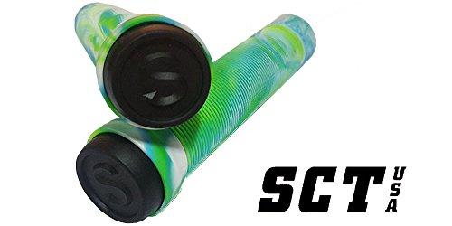 (SCT USA Scooter Bar Grips High Rebound Rubber Bar Ends (Green/Blue))