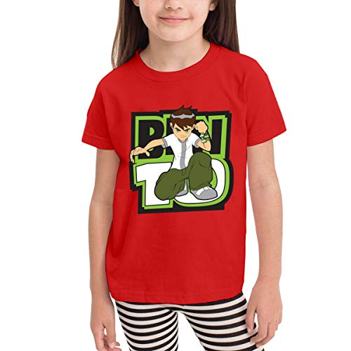 Custom Boys Ben-10 Printing Crew Neck Tee T-Shirts 100% Cotton Tees Tops Red (Ben 10 Omniverse Shirts)