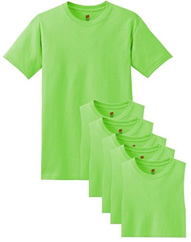 Hanes Men's Comfortsoft 6 Pack Crew Neck Tee - Lime - XL