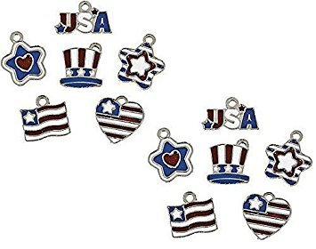 Patriotic Flag Enamel Charms Set (12 Qty) Star Heart USA Uncle Sam 4th of July