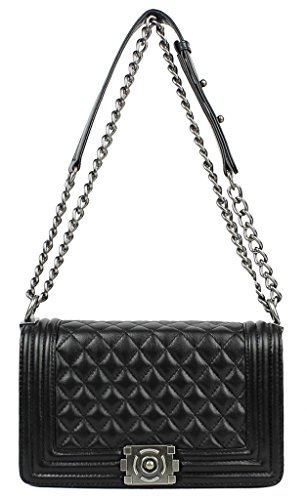 Lush Leather Iconic Quilted Flap Black Bag