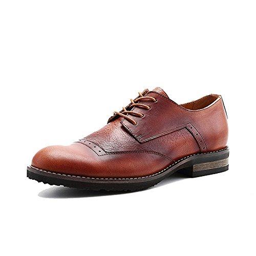 LYZGF Hommes Quatre Saisons Britannique Affaires Occasionnels Mode Respirant Mariage Lacets Chaussures en Cuir Brown Uyducn