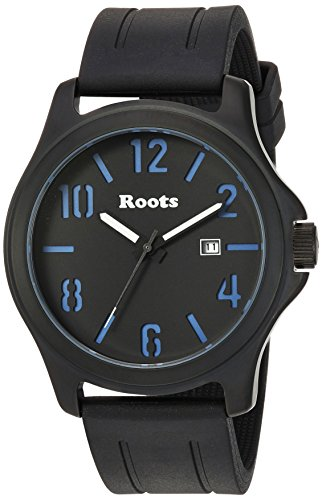 Roots Men's Core Stainless Steel Japanese-Quartz Watch with Rubber Strap, Black, 22 (Model: 1R-LF102BA1B (Roots Canada Watch)