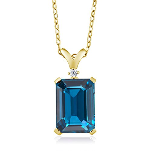 Gem Stone King London Blue Topaz and White Diamond 18K Yellow Gold Plated Silver Pendant Necklace 8.52 Cttw with 18 Inch -