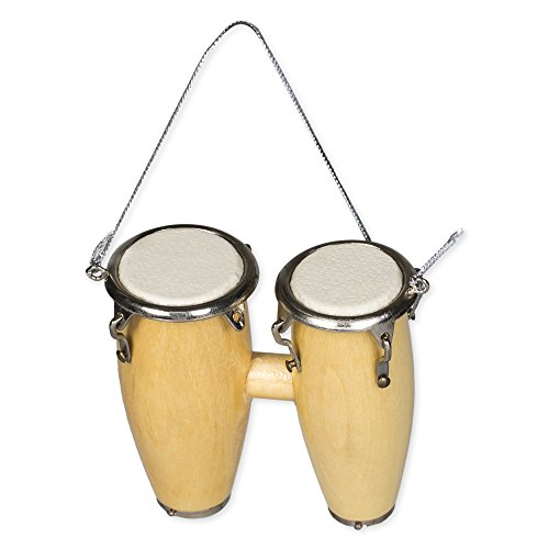Broadway Gift Natural Wood Double Conga Music Instrument Replica Christmas Ornament, 2.5 inch