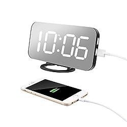 TISSA Alarm Clock Dual USB Charging Ports, 6.5 Large Number Digital Alarm Clock Adjustable Brightness, Big SNOOZE, Mirror Surface Bedroom Living Room Decor(White) (White)