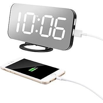 Amazon Com Tissa Alarm Clock Dual Usb Charging Ports 6 5