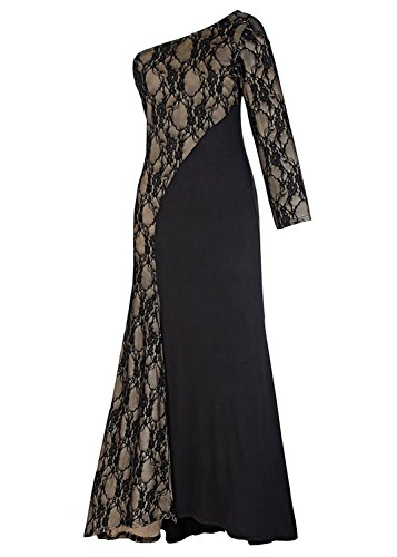 [GRACES]Black Evening Dress For Woman Prom dress, Evening gown, Formal dress, One shoulder, Floral lace spliced, Long sleeve, Fishtail skirt, Side (Ideas For Hairstyles)