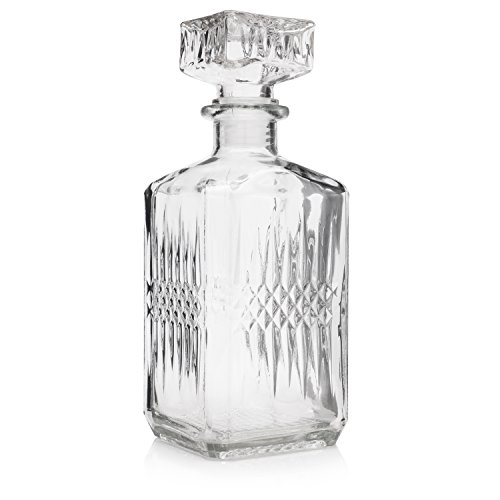 (JUWA PREMIUM Big Decorative Whiskey and Wine Glass Decanter, Large Liquor Brandy Bottle with Air-tight Stopper, 35 oz, Clear, Vintage Style)