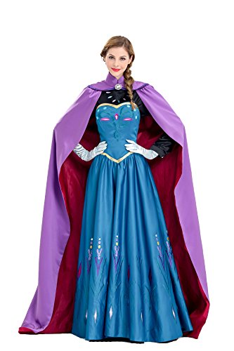 Anna Halloween Costumes Adult (Anna Costume Fancy Ball Princess Cosplay Long Dress For Women (X-Large, Color 1))