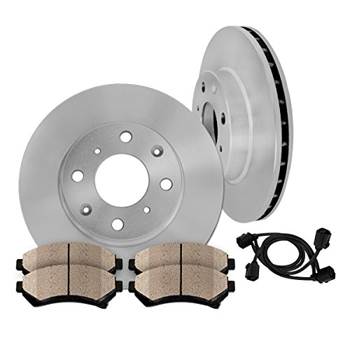 FRONT 276 mm Premium OE 4 Lug [2] Brake Disc Rotors + [4] Ceramic Brake Pads + Sensors - 276 Mm Front Disc