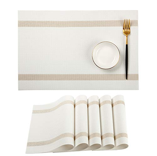 PABUSIOR Placemats for Dinner Table Set of 6 Washable, Woven Vinyl Stripe Placemat Non-Slip Heat Resistant Kitchen Dining Table Mats Wipeable(White)