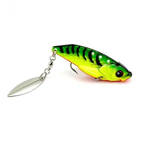 Ioffersuper Metal Fishing Baits Metal Spinner Shine Lures with Hook Fishing Gears 6cm Green