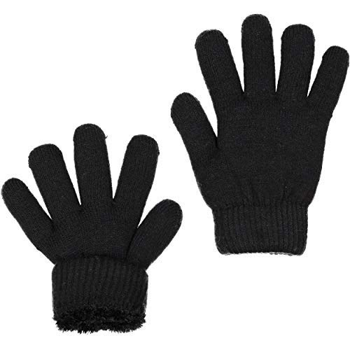ZEHU Unisex Kids Toddler Magic Stretch Knit Warm Winter Gloves(S, Black)