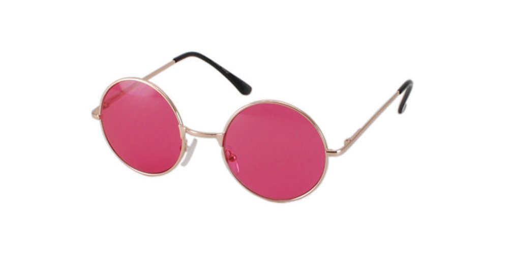 Vintage Gold Wire Rimmed Round Teashades Sunglasses Pink Lens retro lennon 60s