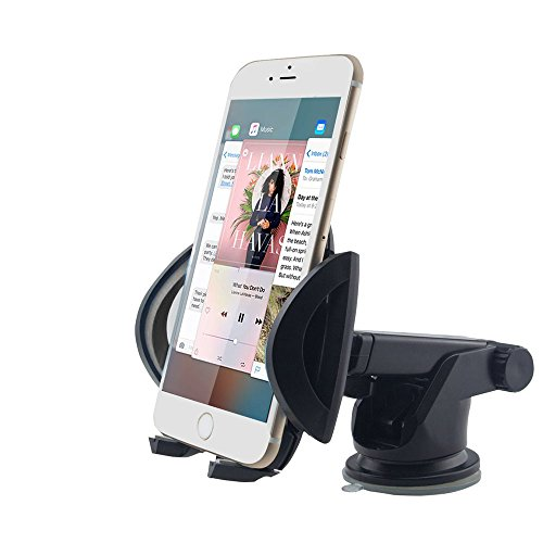 GOOLOO Car Phone Mount Holder, Windshield / Dashboard Universal Car Mobile Phone Cradle for iPhone 7/6 Plus/6s Plus, Samsung S6 /S7 edge, LG, HTC, Sony and Other Smartphones