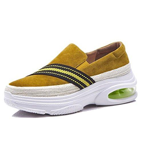 Amarillo Shoes Deportivos on Gruesas para Zapatos Slip al Mocasines para Aire Caminar Cushion Mujeres Zapatos Zapatos Air Libre Ocasionales Suelas Casual Estudiantes GAOLIXIA qBSpF4