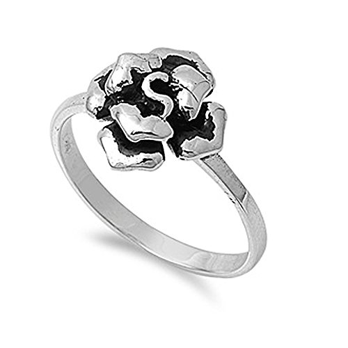cate Flower Ring - size9 (Sterling Silver Delicate Flower Ring)