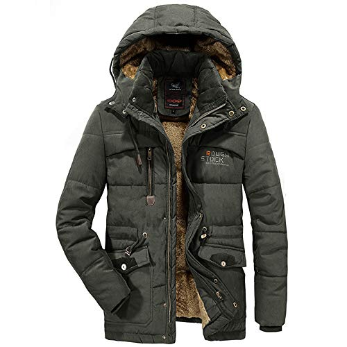 - Mens Winter Coat with Hood Clearance.Men's Winter Velvet Thickened Plus Size Padded Windproof Warm Cotton Padded Coat