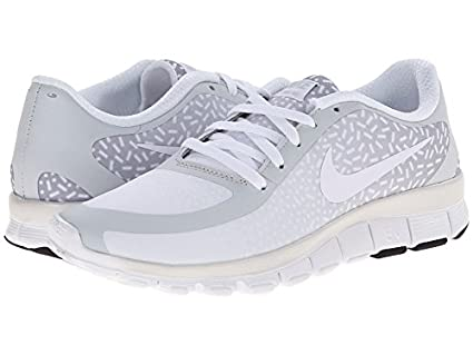 Nike Free 5.0 V4 (Pure PlatinumWhiteWhite) Womens Shoes (Pure