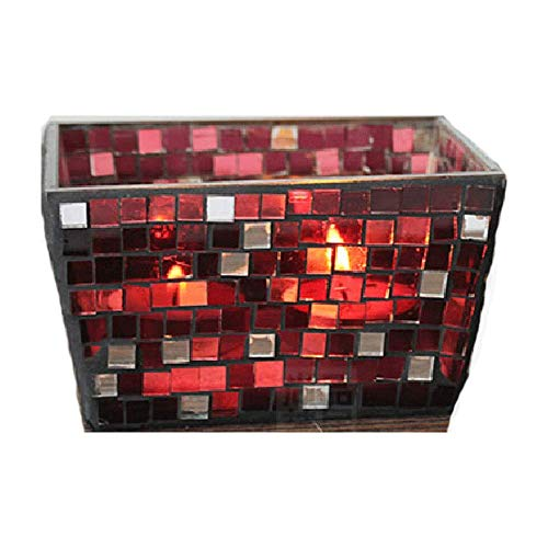 (Red Rainbow Creative Candlestick Glass Romantic Mosaic Ins Cuboid Sparkle Candle Holder Pillar Taper Home Wedding Party Dinner Fireplace Candlelight Dining Room Decor Centerpiece Gift)