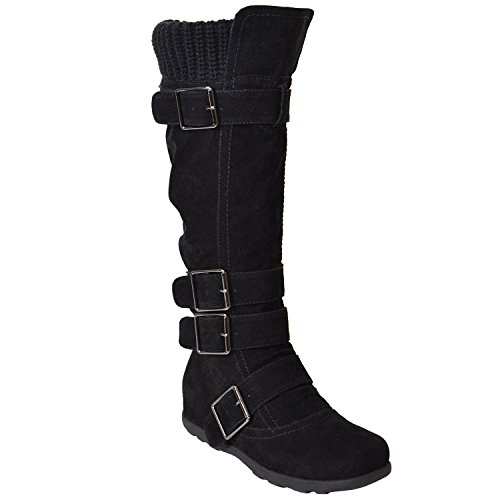 Generation Y Women's Mid Calf Knee High Boots Ruched Suede Knitted Calf Buckles Rubber Sole Black Suede Size 6