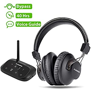 Avantree HT5009 40 Hrs Wireless Headphones for TV Watching w/Bluetooth Transmitter 164ft Long Range – Digital Optical…