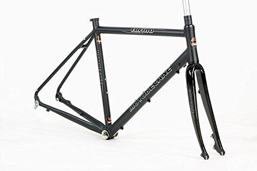 Motobecane Turino Elite Kinesis Aluminum Disc Brake Road Bike Frame with Carbon Fork and Headset (Matt Black, 58cm - 5'11