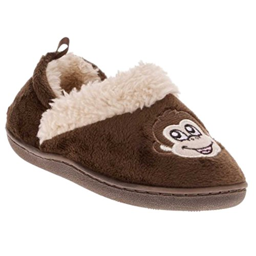 Toddler Boys Monkey (Toddler Boys Brown Monkey Slippers Loafer Style House Shoes Large (9-10))