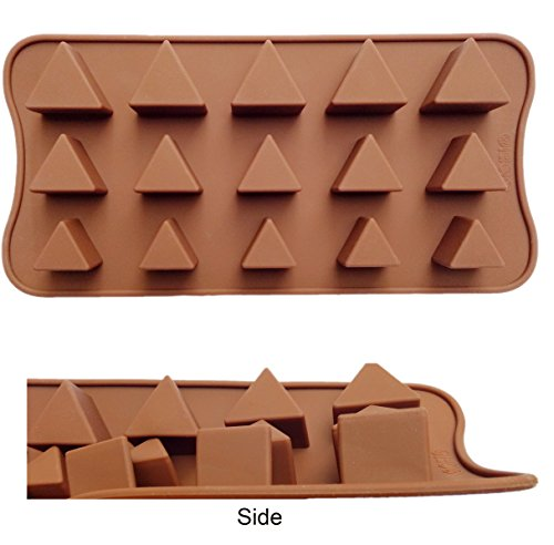 ADS Silicone Pastry Chocolate Cake Mold Baking Pan - Triangle - 15 Cavities - 3 Sizes ()